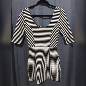 Bar III 3/4 Sleeve Striped Dress